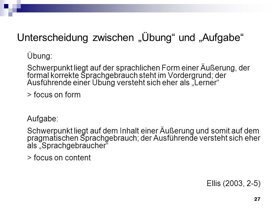 Übung: Schwerpunkt liegt auf der sprachlichen Form einer Äußerung, der formal korrekte Sprachgebrauch steht im Vordergrund; der Ausführende einer Übun