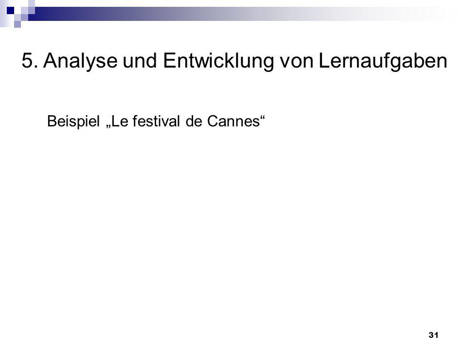 5. Analyse und Entwicklung von Lernaufgaben 31 Beispiel Le festival de Cannes