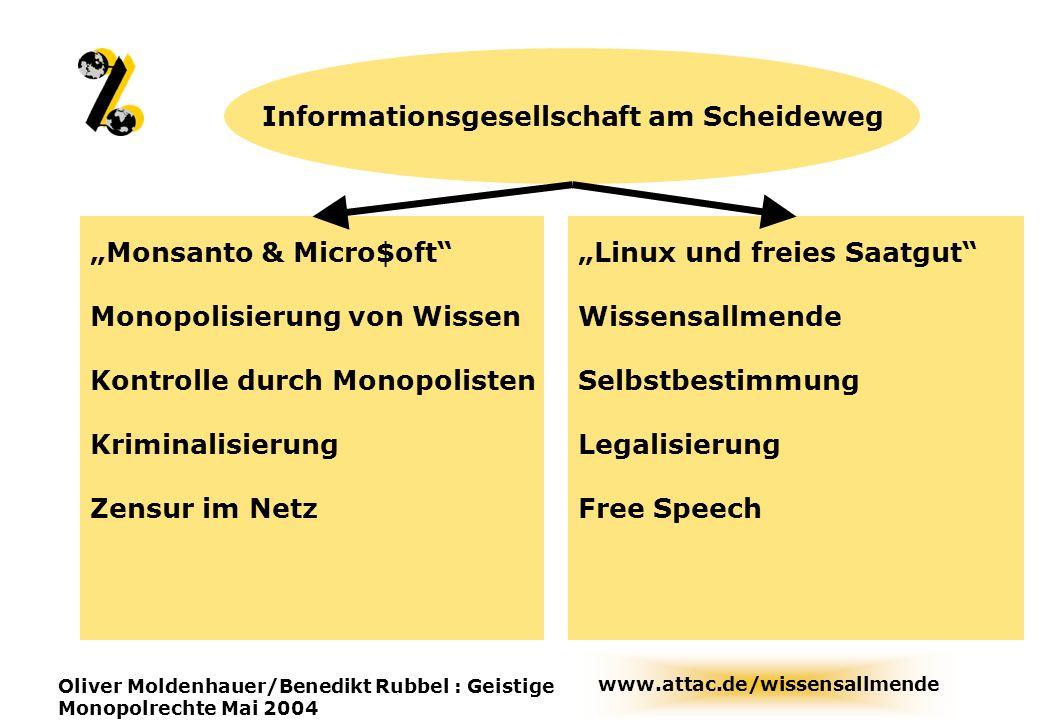 www.attac.de/wissensallmende Oliver Moldenhauer/Benedikt Rubbel : Geistige Monopolrechte Mai 2004 Informationsgesellschaft am Scheideweg Monsanto & Mi