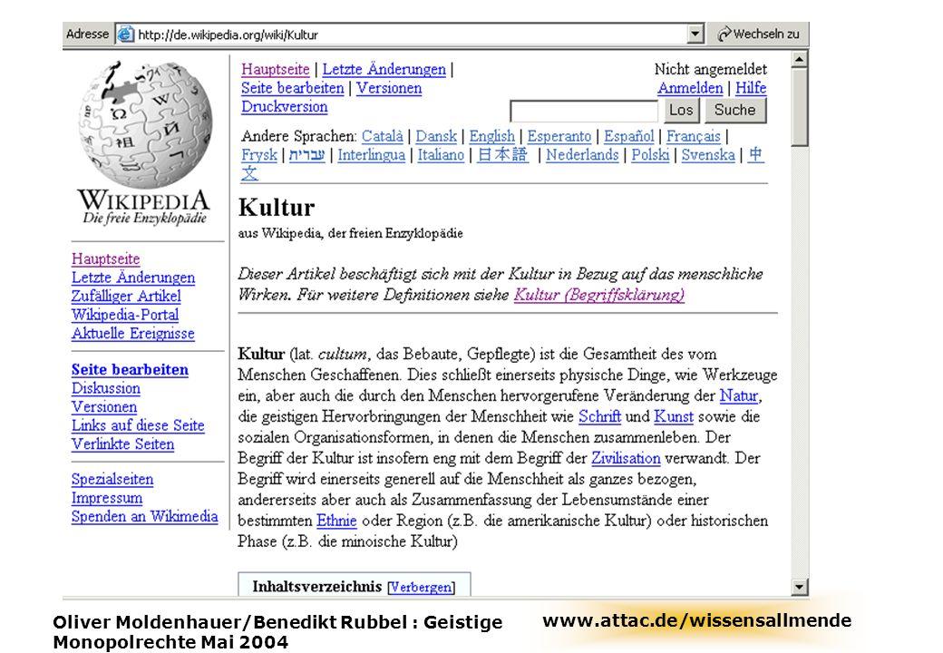 www.attac.de/wissensallmende Oliver Moldenhauer/Benedikt Rubbel : Geistige Monopolrechte Mai 2004 wikipedia
