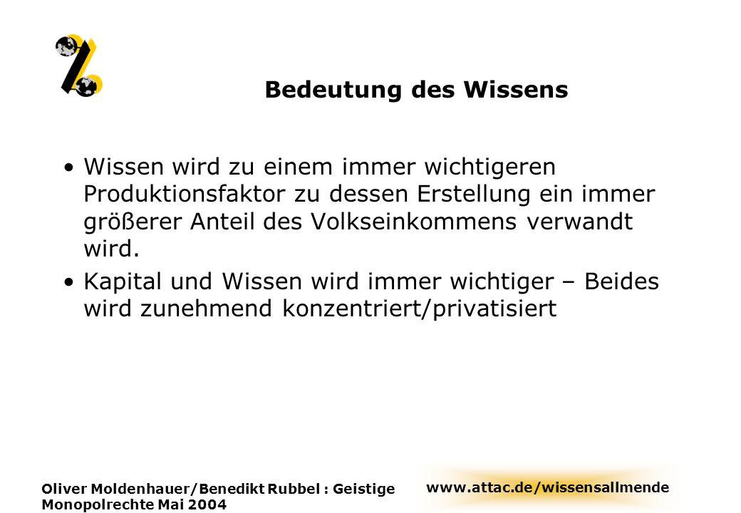 www.attac.de/wissensallmende Oliver Moldenhauer/Benedikt Rubbel : Geistige Monopolrechte Mai 2004 Bedeutung des Wissens Wissen wird zu einem immer wic