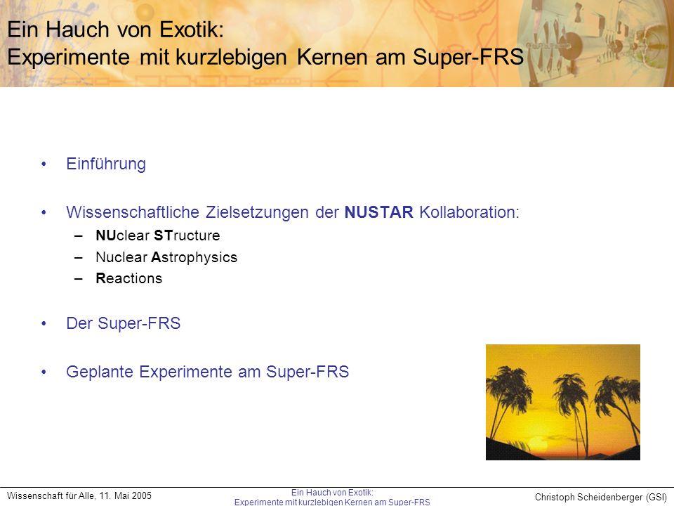 Christoph Scheidenberger (GSI) Wissenschaft für Alle, 11. Mai 2005 Ein Hauch von Exotik: Experimente mit kurzlebigen Kernen am Super-FRS Ein Hauch von