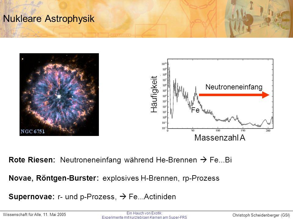 Christoph Scheidenberger (GSI) Wissenschaft für Alle, 11. Mai 2005 Ein Hauch von Exotik: Experimente mit kurzlebigen Kernen am Super-FRS Nukleare Astr