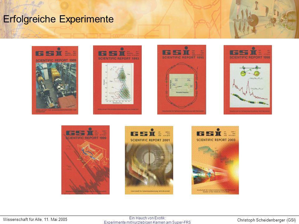 Christoph Scheidenberger (GSI) Wissenschaft für Alle, 11. Mai 2005 Ein Hauch von Exotik: Experimente mit kurzlebigen Kernen am Super-FRS Erfolgreiche