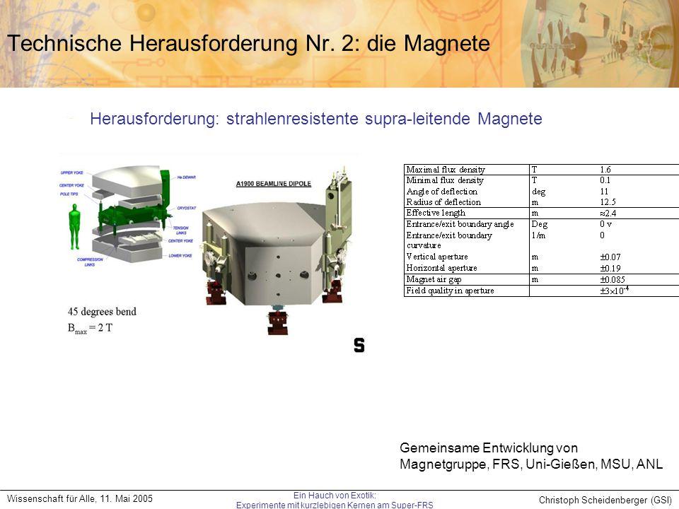 Christoph Scheidenberger (GSI) Wissenschaft für Alle, 11. Mai 2005 Ein Hauch von Exotik: Experimente mit kurzlebigen Kernen am Super-FRS Technische He