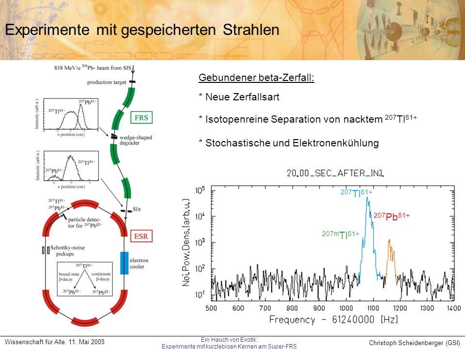 Christoph Scheidenberger (GSI) Wissenschaft für Alle, 11. Mai 2005 Ein Hauch von Exotik: Experimente mit kurzlebigen Kernen am Super-FRS Experimente m