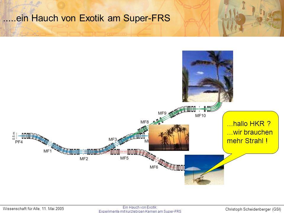 Christoph Scheidenberger (GSI) Wissenschaft für Alle, 11. Mai 2005 Ein Hauch von Exotik: Experimente mit kurzlebigen Kernen am Super-FRS.....ein Hauch