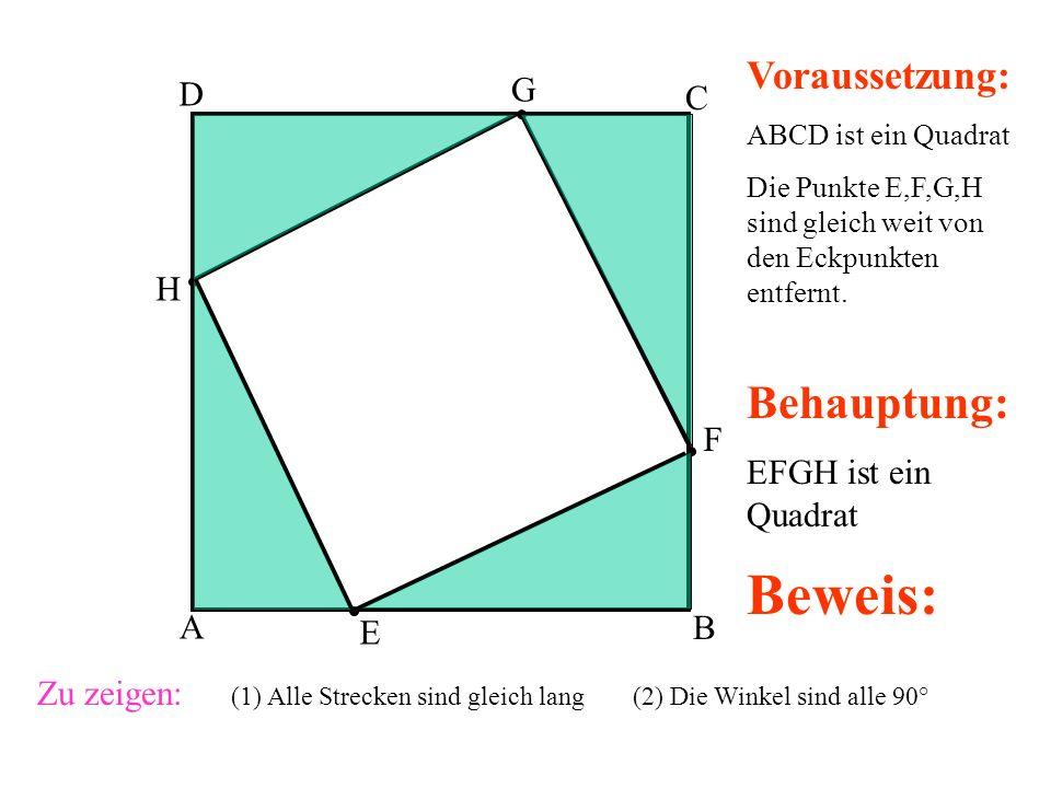 A B C D E F G H Voraussetzung: ABCD ist ein Quadrat Die Punkte E,F,G,H sind gleich weit von den Eckpunkten entfernt.