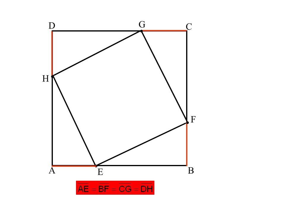 A B C D E F G H Voraussetzung: ABCD ist ein Quadrat Die Punkte E,F,G,H sind gleich weit von den Eckpunkten entfernt. Behauptung: EFGH ist ein Quadrat