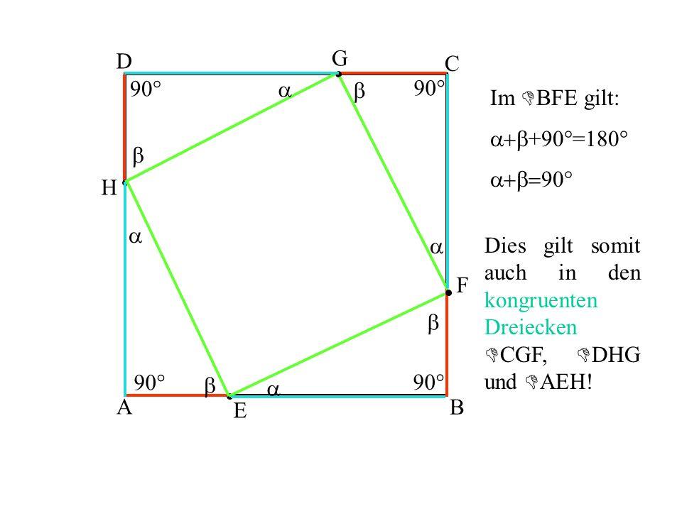 A B C D E F G H 90° a b a a a b b b Im BFE gilt: a+b +90°=180° a+b= 90° Dies gilt somit auch in den kongruenten Dreiecken CGF, DHG und AEH!