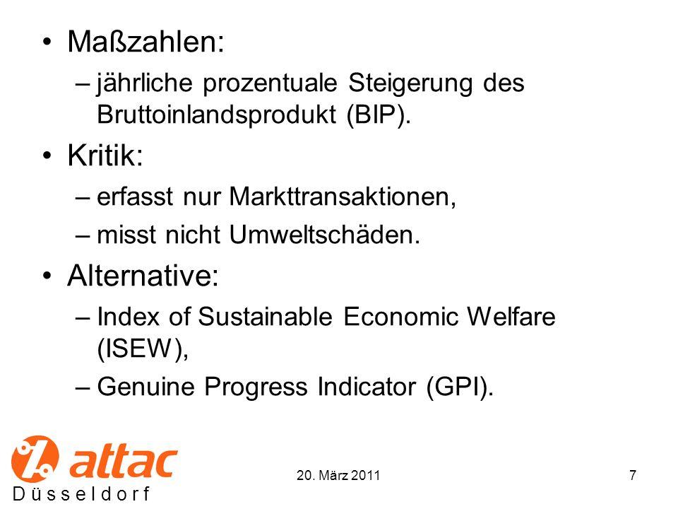 D ü s s e l d o r f Maßzahlen: –jährliche prozentuale Steigerung des Bruttoinlandsprodukt (BIP).