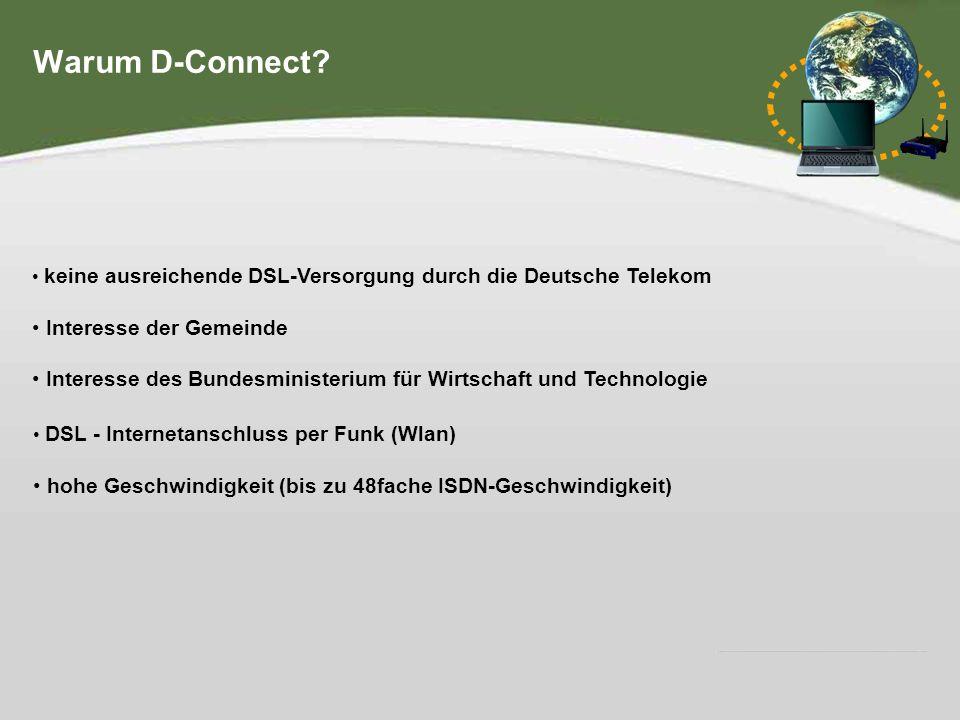 Hier steht Ihre Fußzeile IHR LOGO Warum D-Connect? keine ausreichende DSL-Versorgung durch die Deutsche Telekom Interesse der Gemeinde Interesse des B