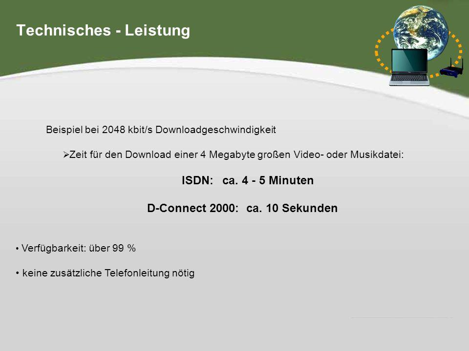 Hier steht Ihre Fußzeile IHR LOGO Geschwindigkeitsvergleich: Download in Kilobit pro Sekunde Vergleich: ISDN (64), T-Online-light (384), D-Connect (3000) Technisches - Leistungsvergleich 0 500 1000 1500 2000 2500 3000