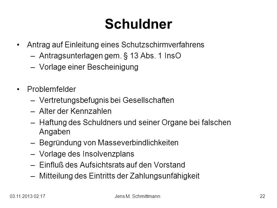 22Jens M. Schmittmann03.11.2013 02:19 Schuldner Antrag auf Einleitung eines Schutzschirmverfahrens –Antragsunterlagen gem. § 13 Abs. 1 InsO –Vorlage e