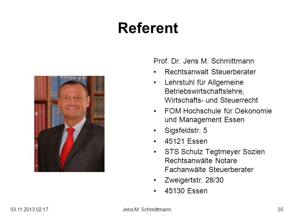 35Jens M. Schmittmann03.11.2013 02:19 Referent Prof. Dr. Jens M. Schmittmann Rechtsanwalt Steuerberater Lehrstuhl für Allgemeine Betriebswirtschaftsle