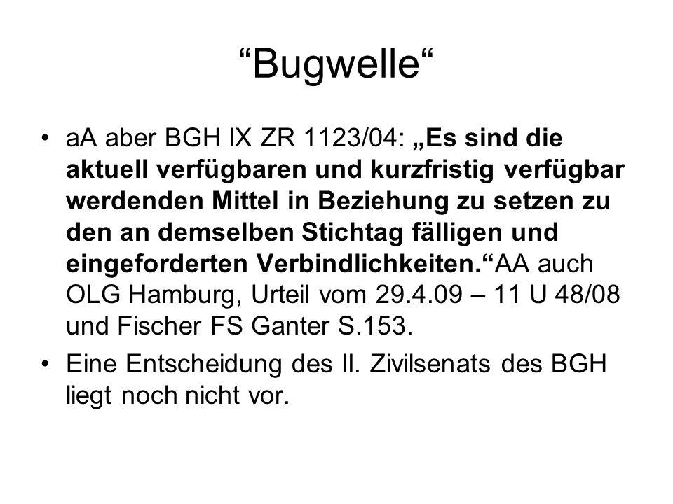 Bugwelle aA aber BGH IX ZR 1123/04: Es sind die aktuell verfügbaren und kurzfristig verfügbar werdenden Mittel in Beziehung zu setzen zu den an demsel