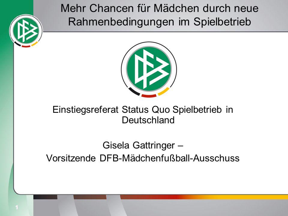 1 Mehr Chancen für Mädchen durch neue Rahmenbedingungen im Spielbetrieb Einstiegsreferat Status Quo Spielbetrieb in Deutschland Gisela Gattringer – Vo