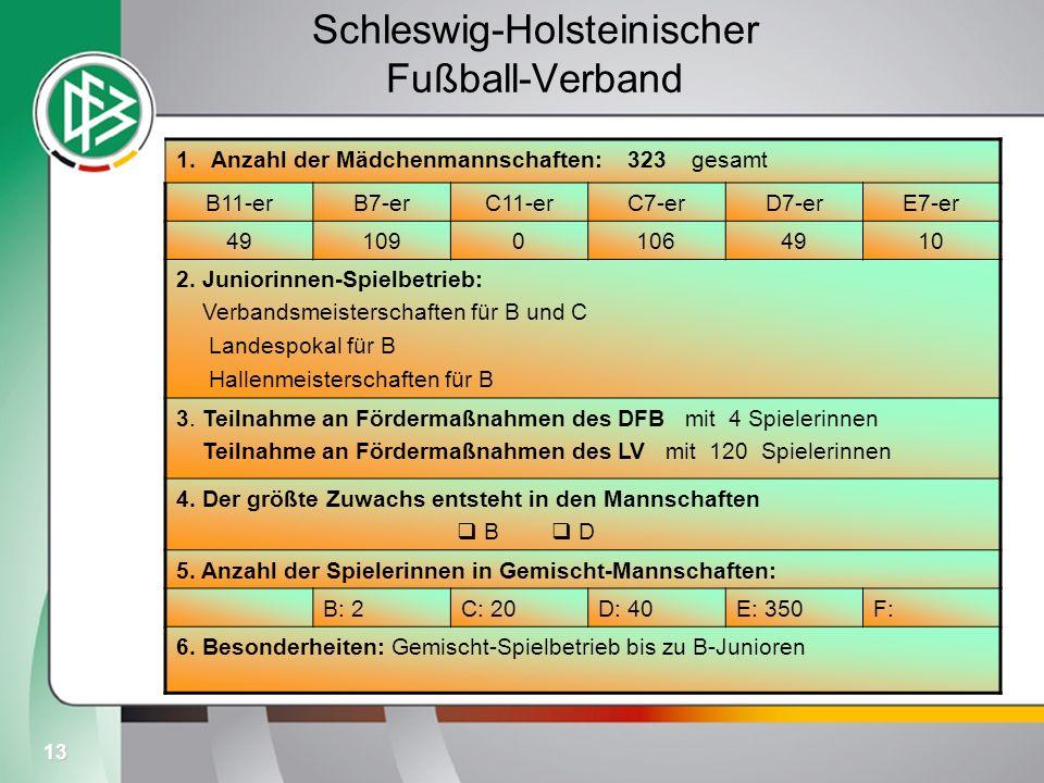 13 Schleswig-Holsteinischer Fußball-Verband 1.Anzahl der Mädchenmannschaften: 323 gesamt B11-erB7-erC11-erC7-erD7-erE7-er 4910901064910 2. Juniorinnen