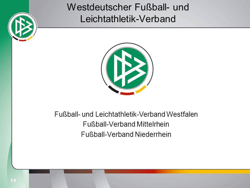 14 Westdeutscher Fußball- und Leichtathletik-Verband Fußball- und Leichtathletik-Verband Westfalen Fußball-Verband Mittelrhein Fußball-Verband Niederr