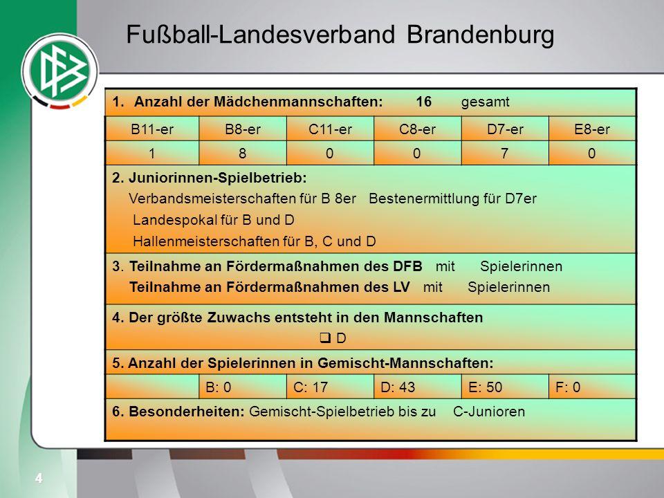 4 Fußball-Landesverband Brandenburg 1.Anzahl der Mädchenmannschaften: 16 gesamt B11-erB8-erC11-erC8-erD7-erE8-er 180070 2. Juniorinnen-Spielbetrieb: V