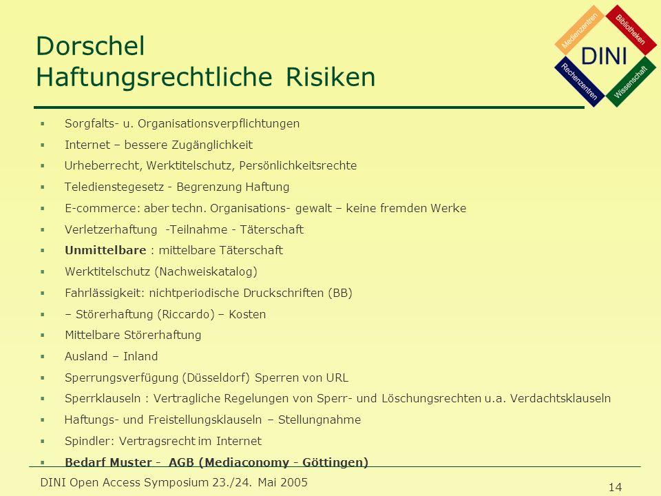 DINI Open Access Symposium 23./24. Mai 2005 14 Dorschel Haftungsrechtliche Risiken §Sorgfalts- u.