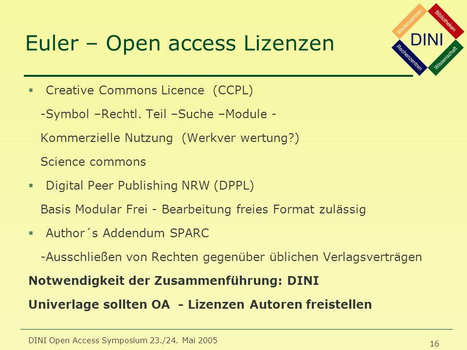 DINI Open Access Symposium 23./24. Mai 2005 16 Euler – Open access Lizenzen §Creative Commons Licence (CCPL) -Symbol –Rechtl. Teil –Suche –Module - Ko