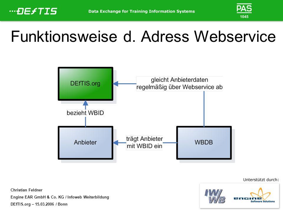 Christian Feldner Engine EAR GmbH & Co. KG / Infoweb Weiterbildung DEfTIS.org – 15.03.2006 / Bonn Funktionsweise d. Adress Webservice