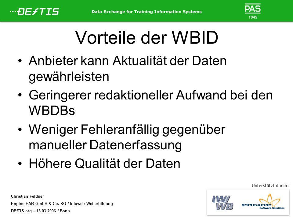 Christian Feldner Engine EAR GmbH & Co. KG / Infoweb Weiterbildung DEfTIS.org – 15.03.2006 / Bonn Vorteile der WBID Anbieter kann Aktualität der Daten