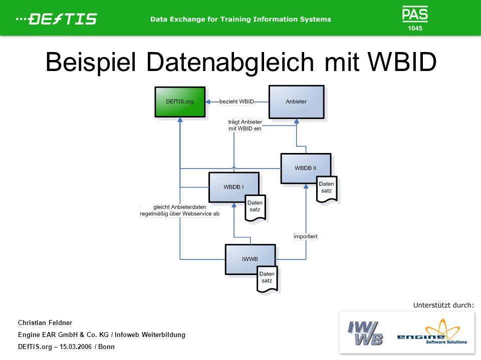 Christian Feldner Engine EAR GmbH & Co. KG / Infoweb Weiterbildung DEfTIS.org – 15.03.2006 / Bonn Beispiel Datenabgleich mit WBID