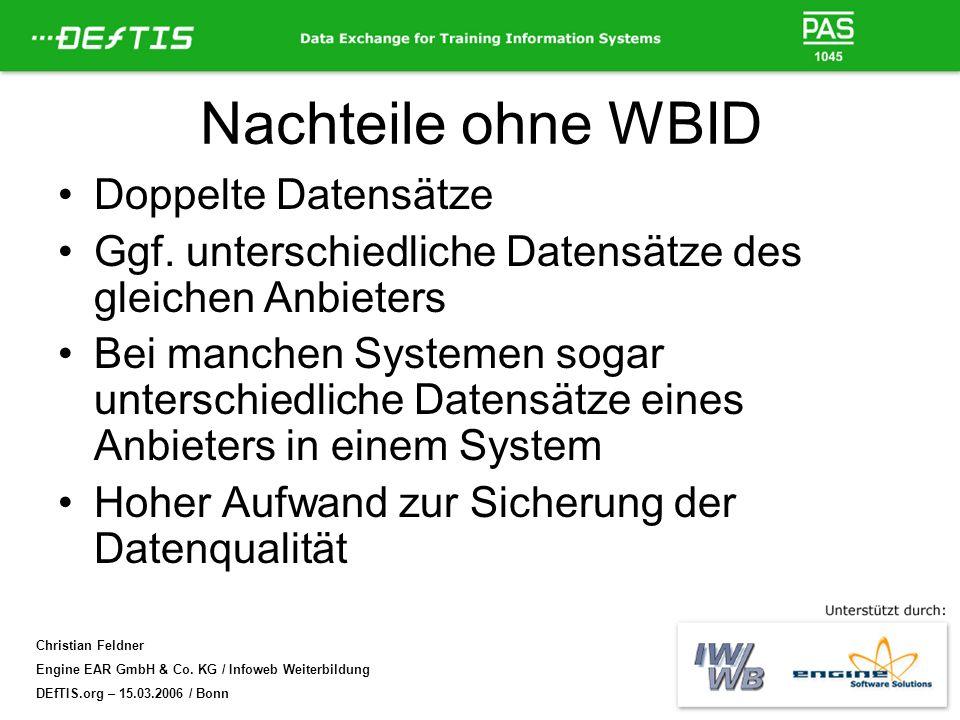 Christian Feldner Engine EAR GmbH & Co. KG / Infoweb Weiterbildung DEfTIS.org – 15.03.2006 / Bonn Nachteile ohne WBID Doppelte Datensätze Ggf. untersc