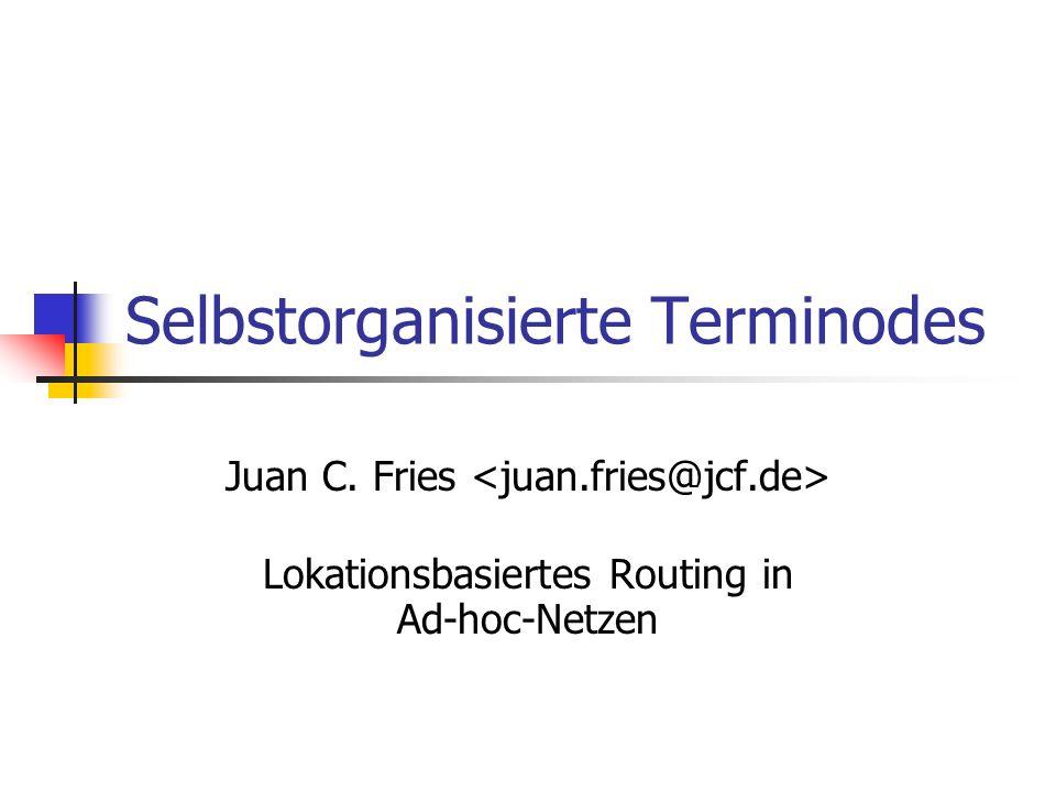 30.10.2002Selbstorganisierte Terminodes12 Paketweiterleitung Jeder Terminode hat eine permanente eindeutige Endsystemkennnummer (EUI) eine ortsabhängige Adresse (LDA), mit geographischer Länge, Breite und Höhe Mehrwegrouting Kombination aus: Terminode Local Routing (TLR) Terminode Remote Routing (TRR)