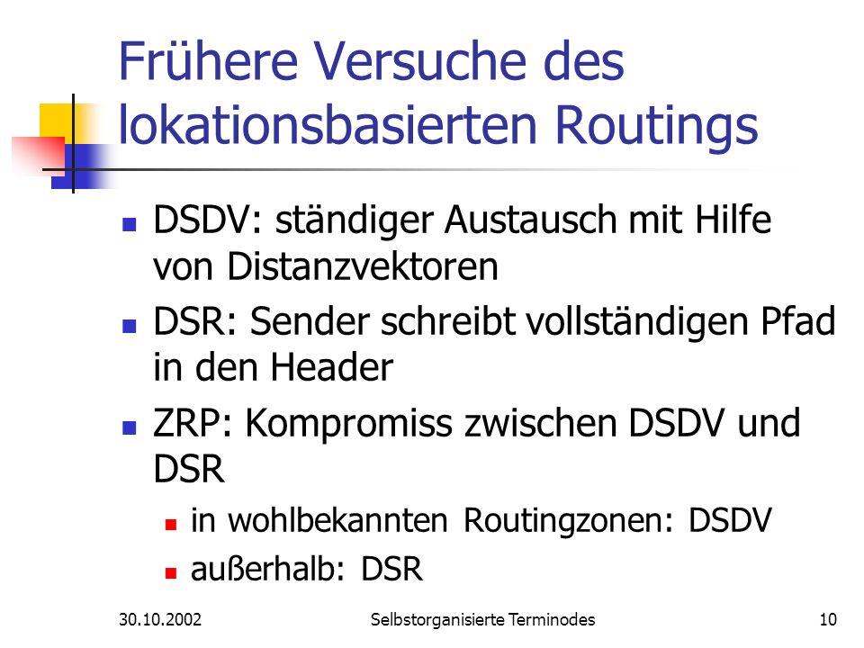 30.10.2002Selbstorganisierte Terminodes10 Frühere Versuche des lokationsbasierten Routings DSDV: ständiger Austausch mit Hilfe von Distanzvektoren DSR