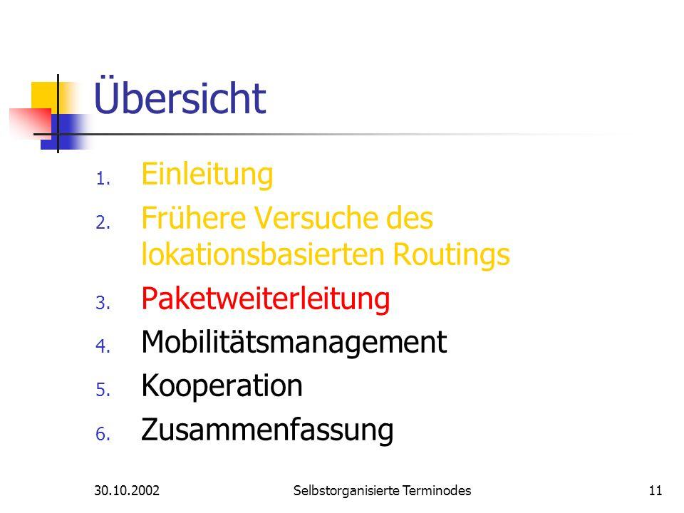30.10.2002Selbstorganisierte Terminodes11 Übersicht 1. Einleitung 2. Frühere Versuche des lokationsbasierten Routings 3. Paketweiterleitung 4. Mobilit