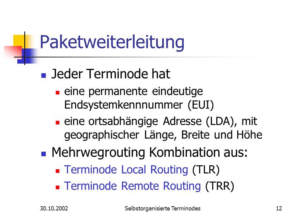 30.10.2002Selbstorganisierte Terminodes12 Paketweiterleitung Jeder Terminode hat eine permanente eindeutige Endsystemkennnummer (EUI) eine ortsabhängi