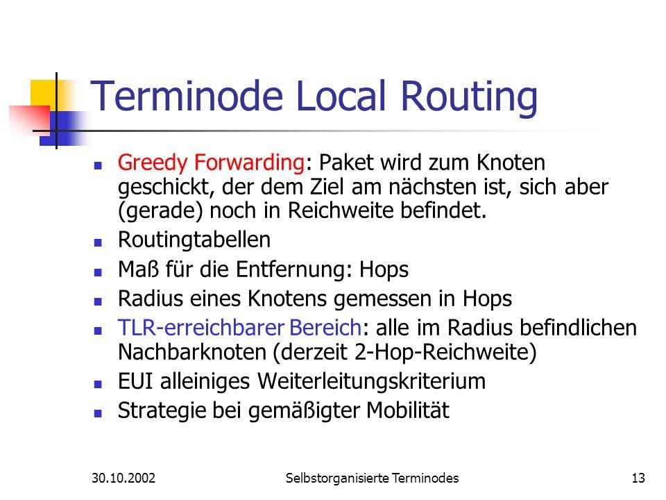 30.10.2002Selbstorganisierte Terminodes13 Terminode Local Routing Greedy Forwarding: Paket wird zum Knoten geschickt, der dem Ziel am nächsten ist, si