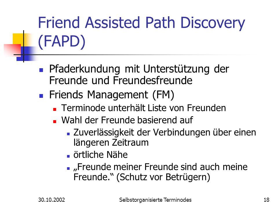 30.10.2002Selbstorganisierte Terminodes18 Friend Assisted Path Discovery (FAPD) Pfaderkundung mit Unterstützung der Freunde und Freundesfreunde Friend