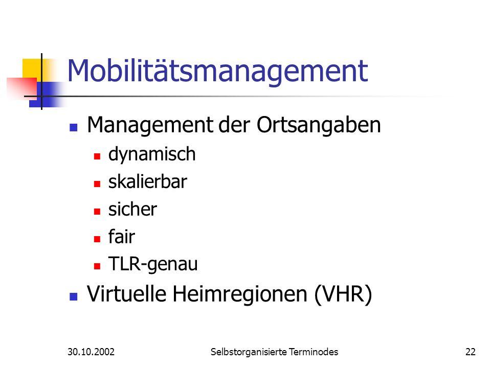 30.10.2002Selbstorganisierte Terminodes22 Mobilitätsmanagement Management der Ortsangaben dynamisch skalierbar sicher fair TLR-genau Virtuelle Heimreg