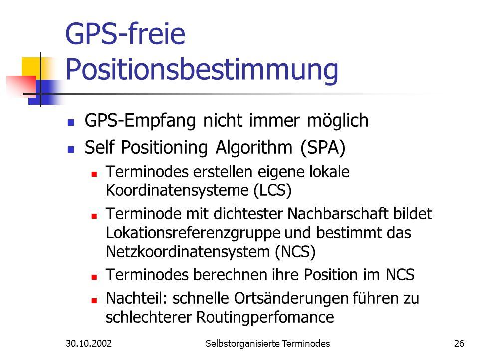 30.10.2002Selbstorganisierte Terminodes26 GPS-freie Positionsbestimmung GPS-Empfang nicht immer möglich Self Positioning Algorithm (SPA) Terminodes er