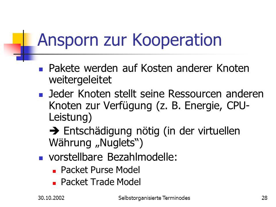 30.10.2002Selbstorganisierte Terminodes28 Ansporn zur Kooperation Pakete werden auf Kosten anderer Knoten weitergeleitet Jeder Knoten stellt seine Res