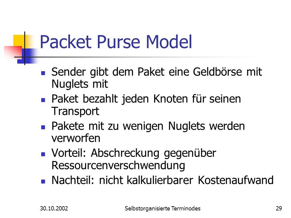 30.10.2002Selbstorganisierte Terminodes29 Packet Purse Model Sender gibt dem Paket eine Geldbörse mit Nuglets mit Paket bezahlt jeden Knoten für seine