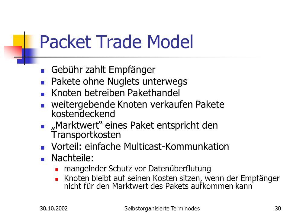 30.10.2002Selbstorganisierte Terminodes30 Packet Trade Model Gebühr zahlt Empfänger Pakete ohne Nuglets unterwegs Knoten betreiben Pakethandel weiterg
