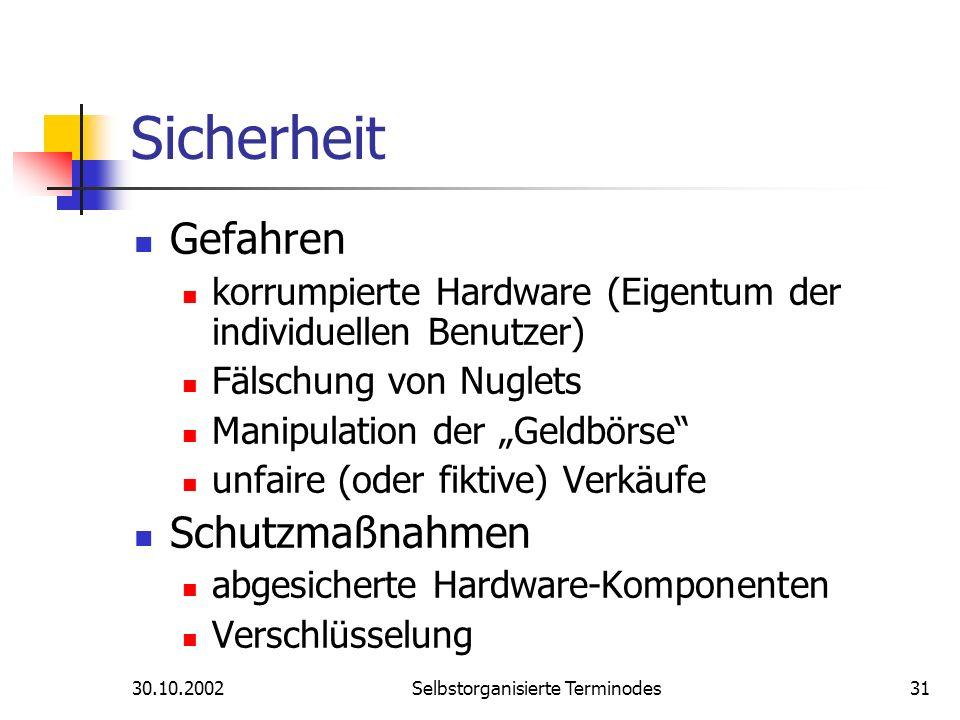 30.10.2002Selbstorganisierte Terminodes31 Sicherheit Gefahren korrumpierte Hardware (Eigentum der individuellen Benutzer) Fälschung von Nuglets Manipu