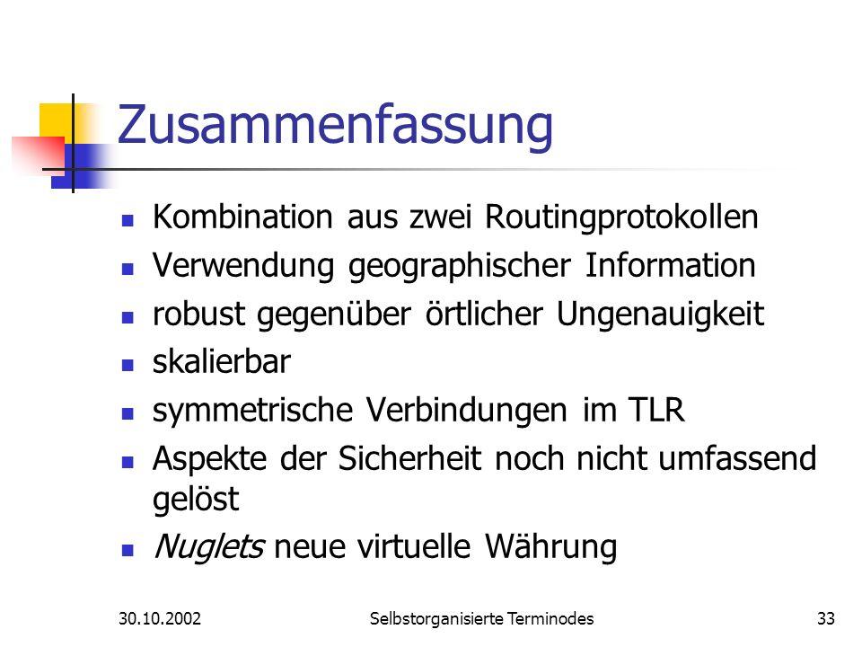 30.10.2002Selbstorganisierte Terminodes33 Zusammenfassung Kombination aus zwei Routingprotokollen Verwendung geographischer Information robust gegenüb