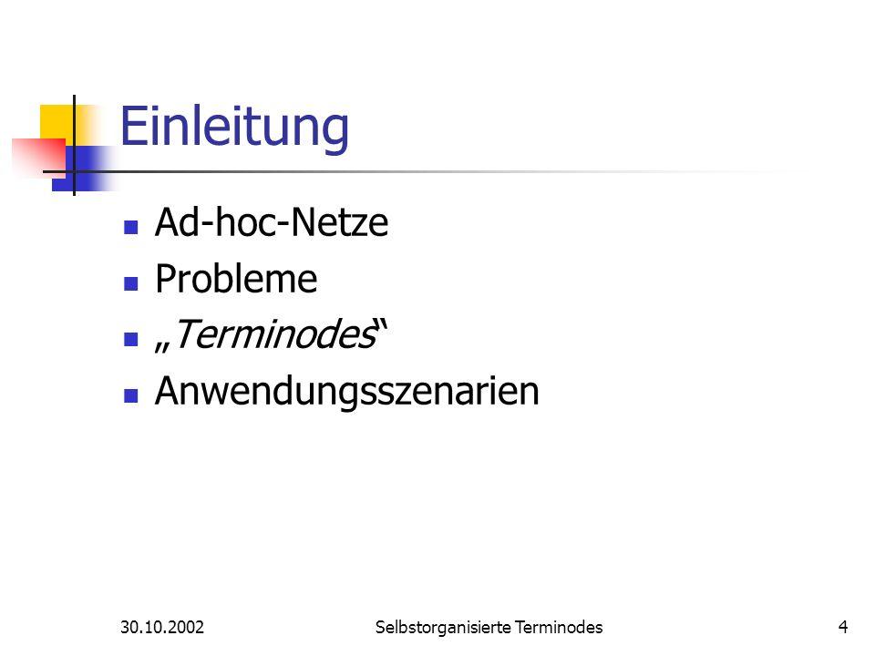 30.10.2002Selbstorganisierte Terminodes4 Einleitung Ad-hoc-Netze Probleme Terminodes Anwendungsszenarien