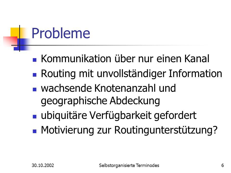30.10.2002Selbstorganisierte Terminodes6 Probleme Kommunikation über nur einen Kanal Routing mit unvollständiger Information wachsende Knotenanzahl un