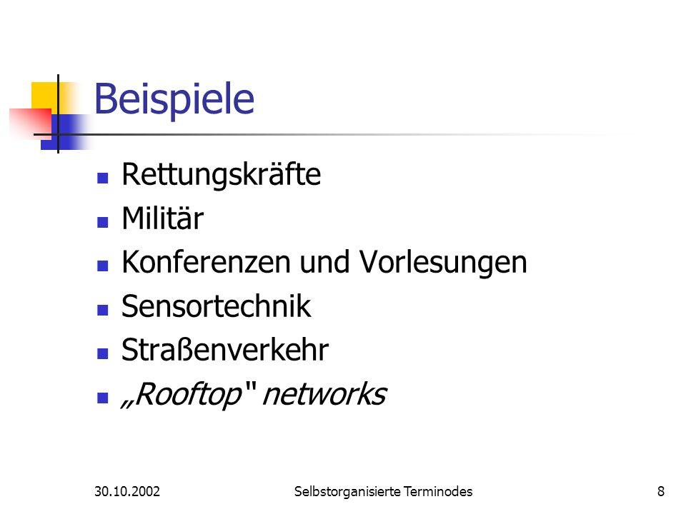 30.10.2002Selbstorganisierte Terminodes8 Beispiele Rettungskräfte Militär Konferenzen und Vorlesungen Sensortechnik Straßenverkehr Rooftop networks
