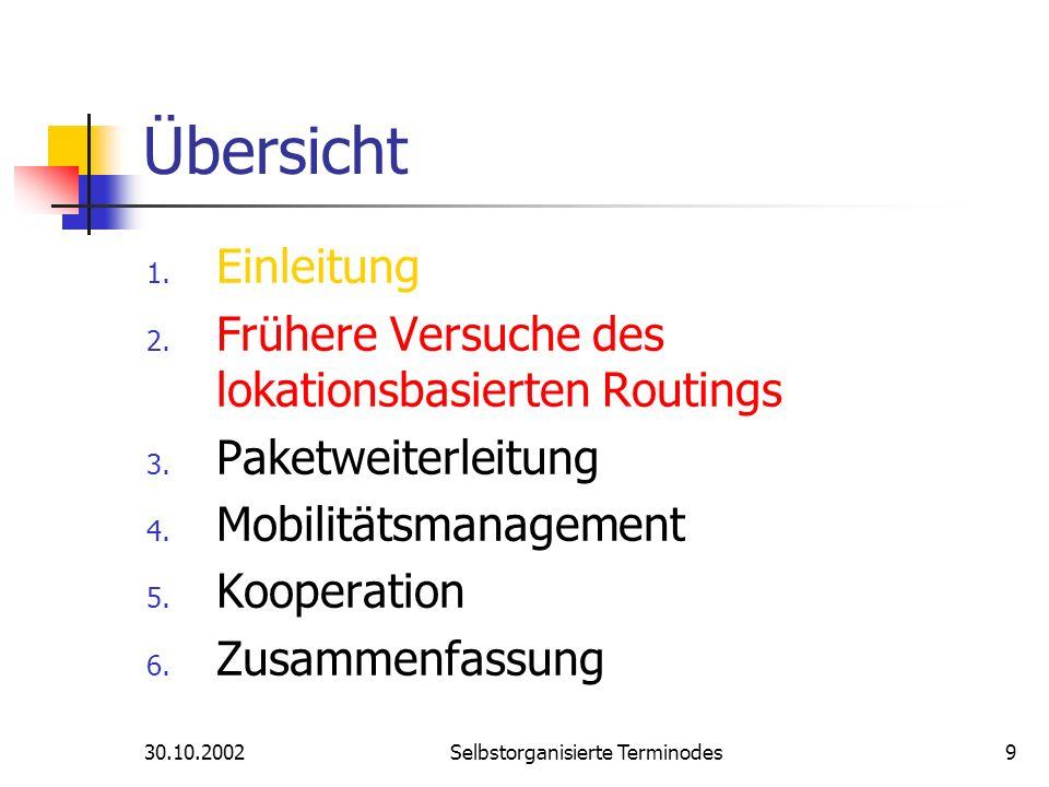30.10.2002Selbstorganisierte Terminodes9 Übersicht 1. Einleitung 2. Frühere Versuche des lokationsbasierten Routings 3. Paketweiterleitung 4. Mobilitä