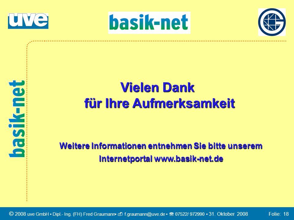 Vielen Dank für Ihre Aufmerksamkeit Weitere Informationen entnehmen Sie bitte unserem Internetportal www.basik-net.de © 2008 uve GmbH Dipl.- Ing. (FH)