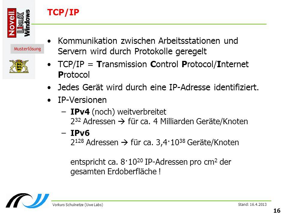 Stand: 16.4.2013 16 Vorkurs Schulnetze (Uwe Labs) TCP/IP Kommunikation zwischen Arbeitsstationen und Servern wird durch Protokolle geregelt TCP/IP = Transmission Control Protocol/Internet Protocol Jedes Gerät wird durch eine IP-Adresse identifiziert.
