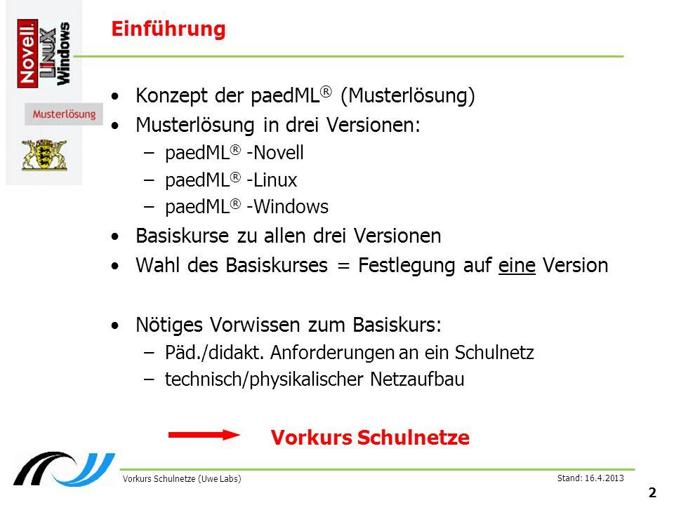 Stand: 16.4.2013 2 Vorkurs Schulnetze (Uwe Labs) Einführung Konzept der paedML ® (Musterlösung) Musterlösung in drei Versionen: –paedML ® -Novell –paedML ® -Linux –paedML ® -Windows Basiskurse zu allen drei Versionen Wahl des Basiskurses = Festlegung auf eine Version Nötiges Vorwissen zum Basiskurs: –Päd./didakt.